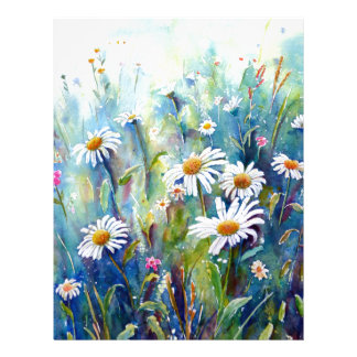 Watercolor painting of daisy field letterhead