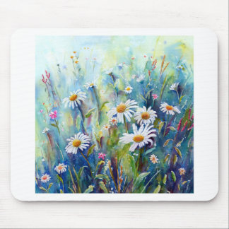 Watercolor painting of daisy field mouse pad