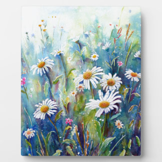 Watercolor painting of daisy field plaque