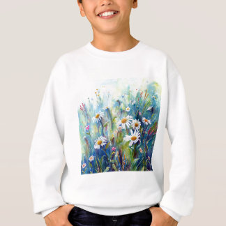 Watercolor painting of daisy field sweatshirt