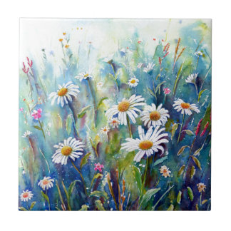 Watercolor painting of daisy field tile