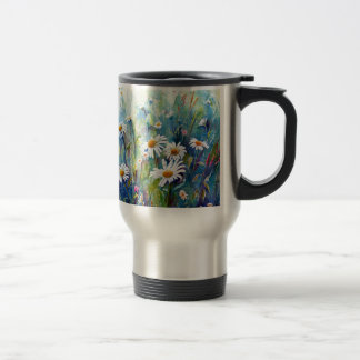 Watercolor painting of daisy field travel mug
