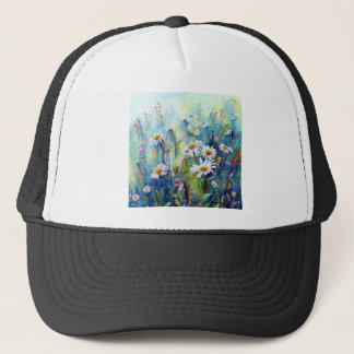 Watercolor painting of daisy field trucker hat
