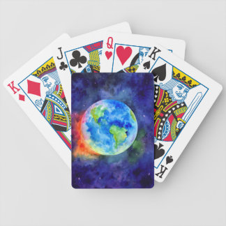 Watercolor painting of Earth Bicycle Playing Cards