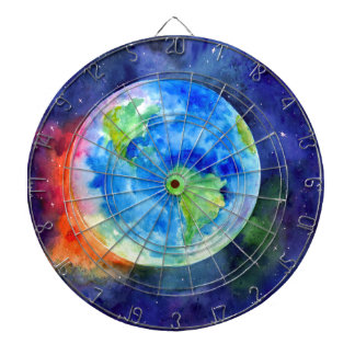 Watercolor painting of Earth Dartboard