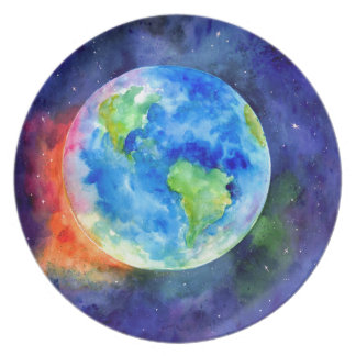 Watercolor painting of Earth Party Plates