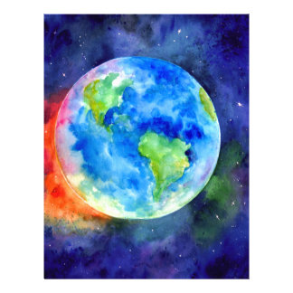 Watercolor painting of Earth Personalized Letterhead