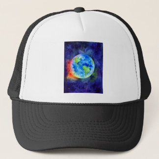 Watercolor painting of Earth Trucker Hat
