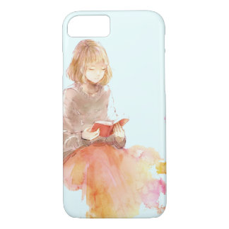 Watercolor Painting of Girl Reading a Red Book Case-Mate iPhone Case