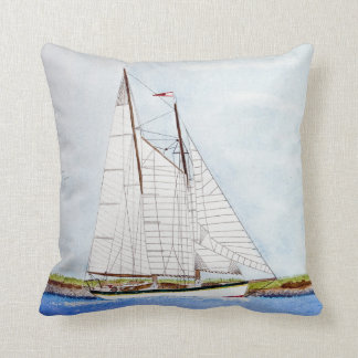 watercolor painting of sailboat throw pillow