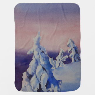 Watercolor painting of winter sunset landscape baby blanket