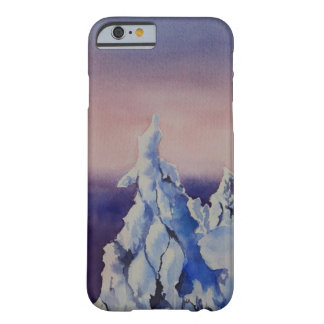 Watercolor painting of winter sunset landscape barely there iPhone 6 case