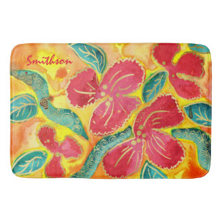 Watercolor Painting Tropical Red Hibiscus Gold Gli Bath Mat