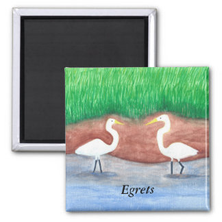 Watercolor Painting Two White Egrets Wading Magnet