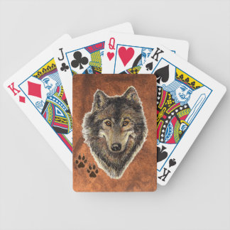 Watercolor Painting Wolf with Animal Tracks Poker Deck