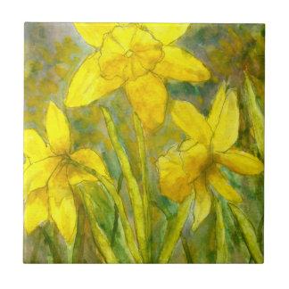 Watercolor Painting, Yellow Flowers Art, Daffodils Ceramic Tile