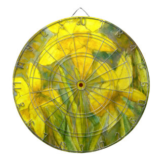Watercolor Painting, Yellow Flowers Art, Daffodils Dart Board