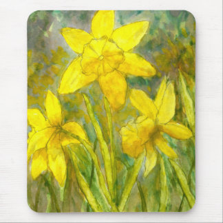 Watercolor Painting, Yellow Flowers Art, Daffodils Mouse Pad