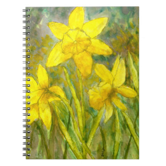 Watercolor Painting, Yellow Flowers Art, Daffodils Note Book
