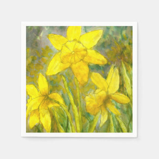 Watercolor Painting, Yellow Flowers Art, Daffodils Paper Napkins