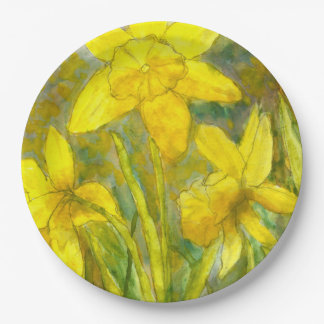 Watercolor Painting, Yellow Flowers Art, Daffodils Paper Plate
