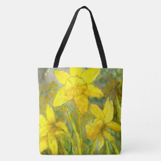 Watercolor Painting, Yellow Flowers Art, Daffodils Tote Bag