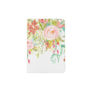 Watercolor Pale Pink Roses Wildflowers Greenery Passport Holder