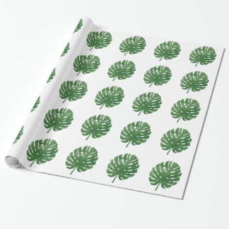 Watercolor palm leaves pattern wrapping paper