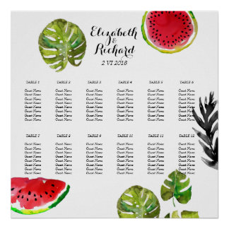Watercolor palm leaves watermelon Seating Chart