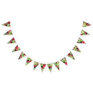 Watercolor palm leaves watermelon wedding decor bunting flags