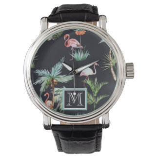 Watercolor Palm Pattern | Add Your Initial Wrist Watches