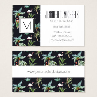 Watercolor Palm Pattern | Monogram Business Card
