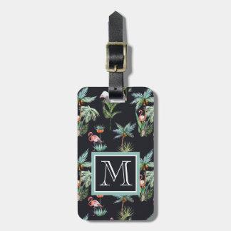 Watercolor Palm Pattern | Monogram Luggage Tag