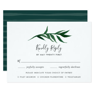 Watercolor Palm RSVP Card with Meal Choice