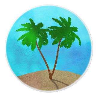 Watercolor Palm Tree Beach Scene Collage Ceramic Knob