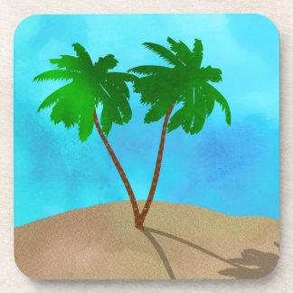 Watercolor Palm Tree Beach Scene Collage Coaster