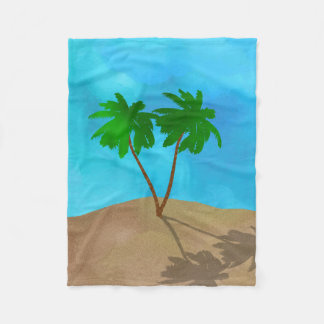 Watercolor Palm Tree Beach Scene Collage Fleece Blanket