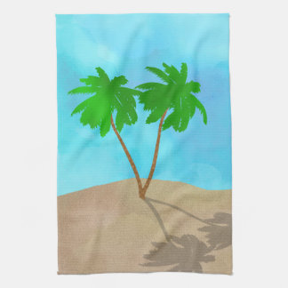 Watercolor Palm Tree Beach Scene Collage Kitchen Towel