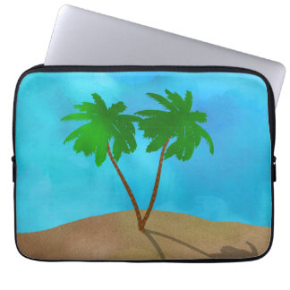 Watercolor Palm Tree Beach Scene Collage Laptop Sleeve