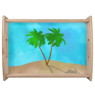 Watercolor Palm Tree Beach Scene Collage Serving Tray