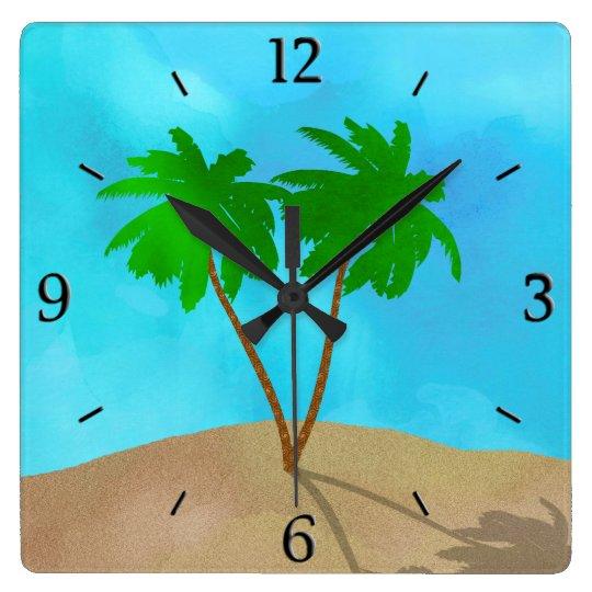 Watercolor Palm Tree Beach Scene Collage Square Wall Clock
