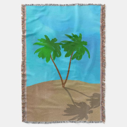 Watercolor Palm Tree Beach Scene Collage Throw