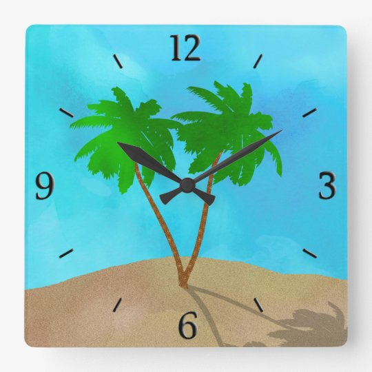Watercolor Palm Tree Collage Clocks
