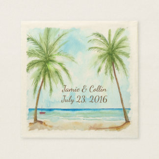 Watercolor Palm Tree Custom Wedding Paper Napkins