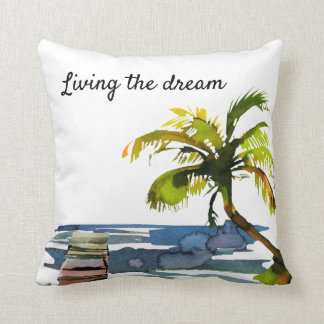Watercolor Palm Tree Living the Dream Throw Pillow
