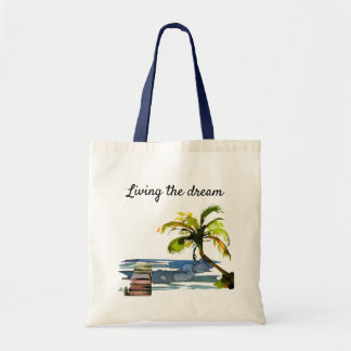 Watercolor Palm Tree Living the Dream Tote Bag