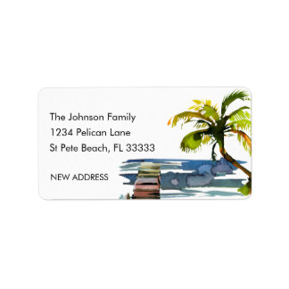 Watercolor Palm Tree New Address Label