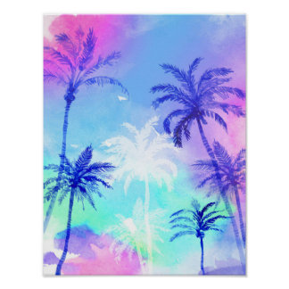 Watercolor palm tree poster