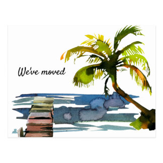 Watercolor Palm Tree We Moved New Address Postcard