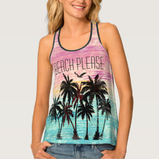 Watercolor palm trees beach tank top